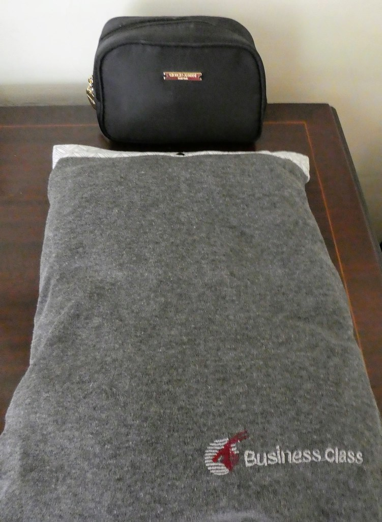 Qatar Airways Business Class Amenity Kit and Pyjamas