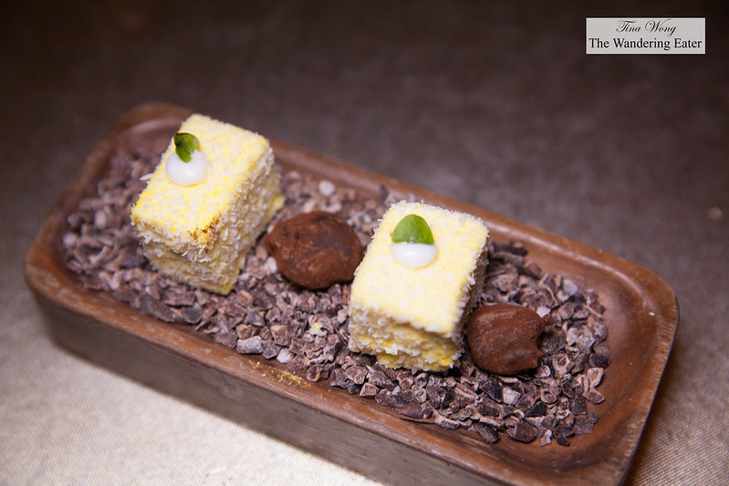 Mignardes of passion fruit coconut marshmallows and dark chocolate truffle