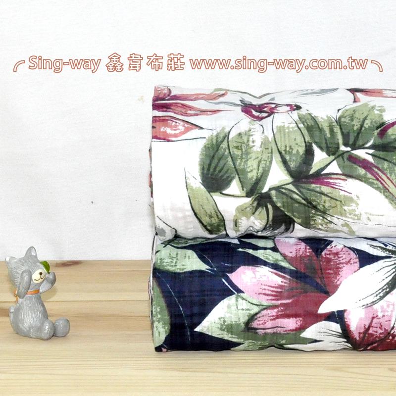 針葉 優雅花卉 夏季服裝布料 CH1490096