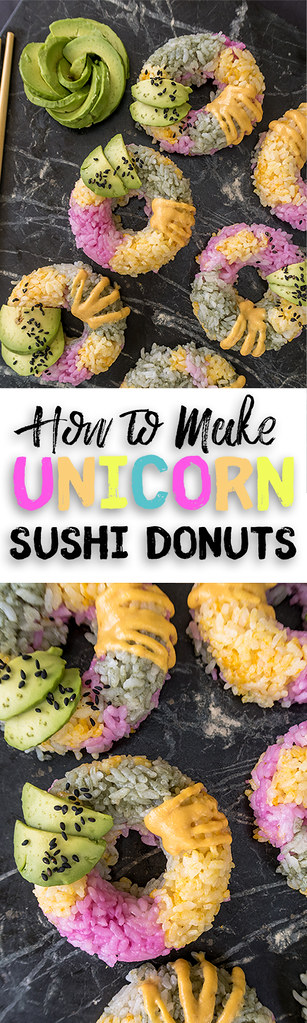 How to Make Unicorn Sushi Donuts {recipe + video} sweetsimplevegan.com #unicorn #sushi #sushidonuts #vegan #oilfree #colorful