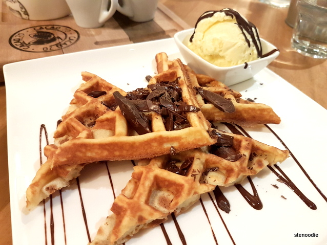 Dark chocolate waffle and chocolate-covered ice cream