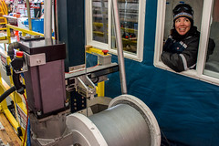 Shawntel Stapleton operates the Intermediate Depth Drill at South Pole