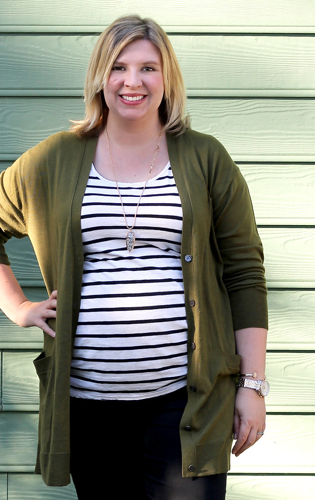 long olive cardigan, stripe tee, black pencil pants 1