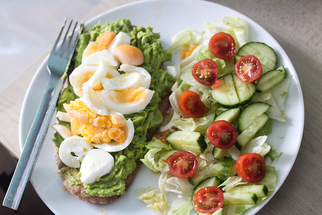 Healthy lunch idea - avocado on wholemeal pitta with egg salad