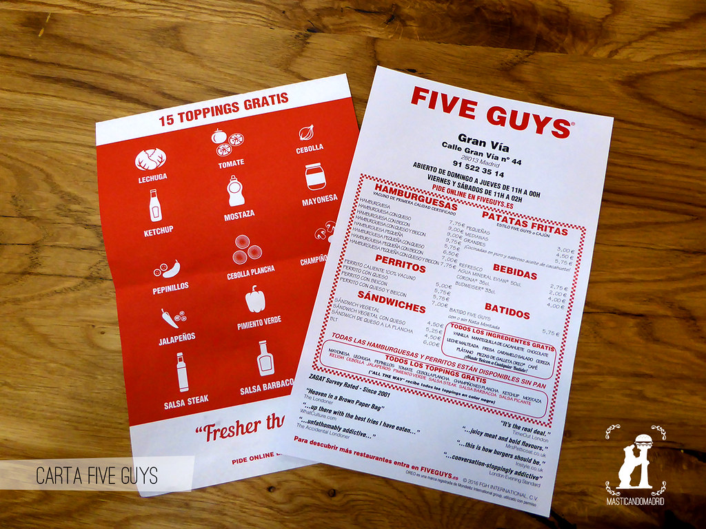 Carta Five Guys Madrid