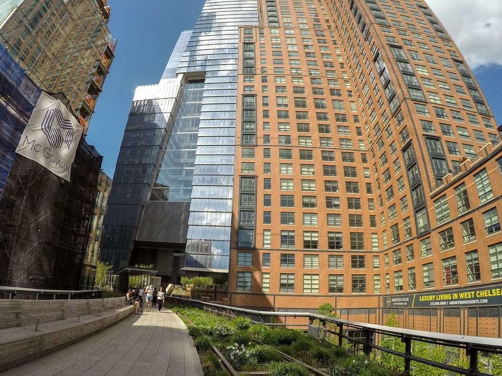 Hudson Yards area of High Line Park in spring