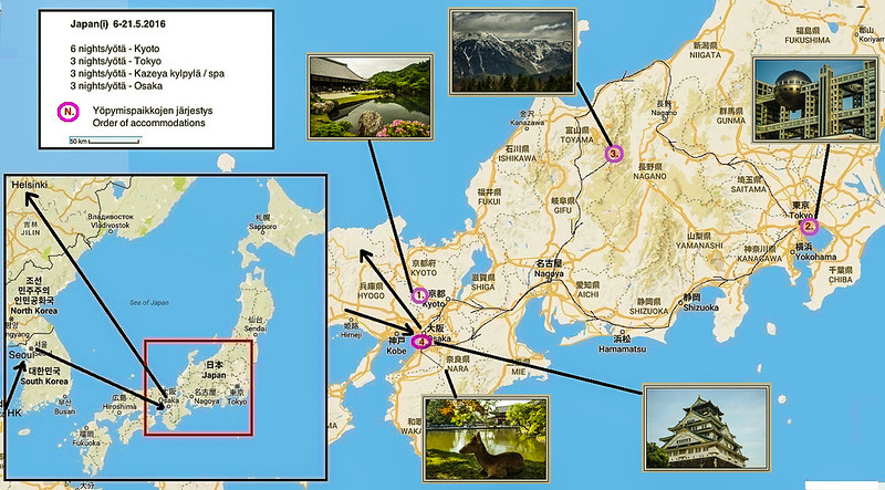 Our route in Japan