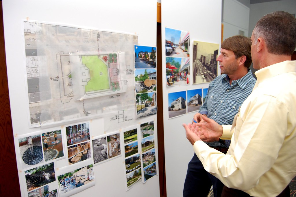 Stantec staff discusses ideas with resident