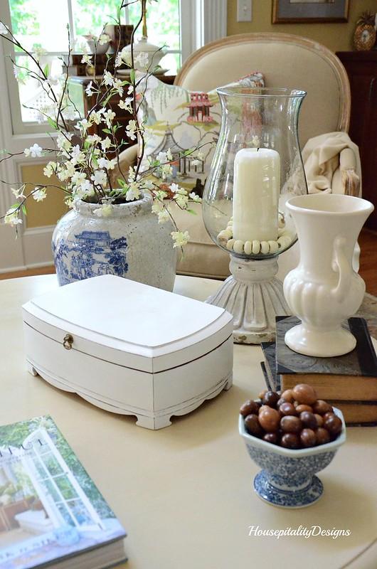 Vignette-Chinoiserie-Leah Hurricane-Pottery Barn-White Vintage box-Blue and White-Housepitality Designs