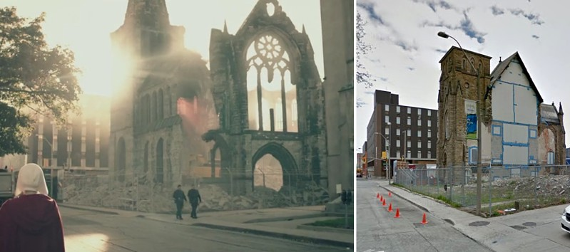 "Left: A Handmaid, guards, and CGI James Street Baptist in a still from ""Birth Day"" (The Handmaid's Tale, Season 1, episode 2) Right: map view of the ruin of James Street Baptist"