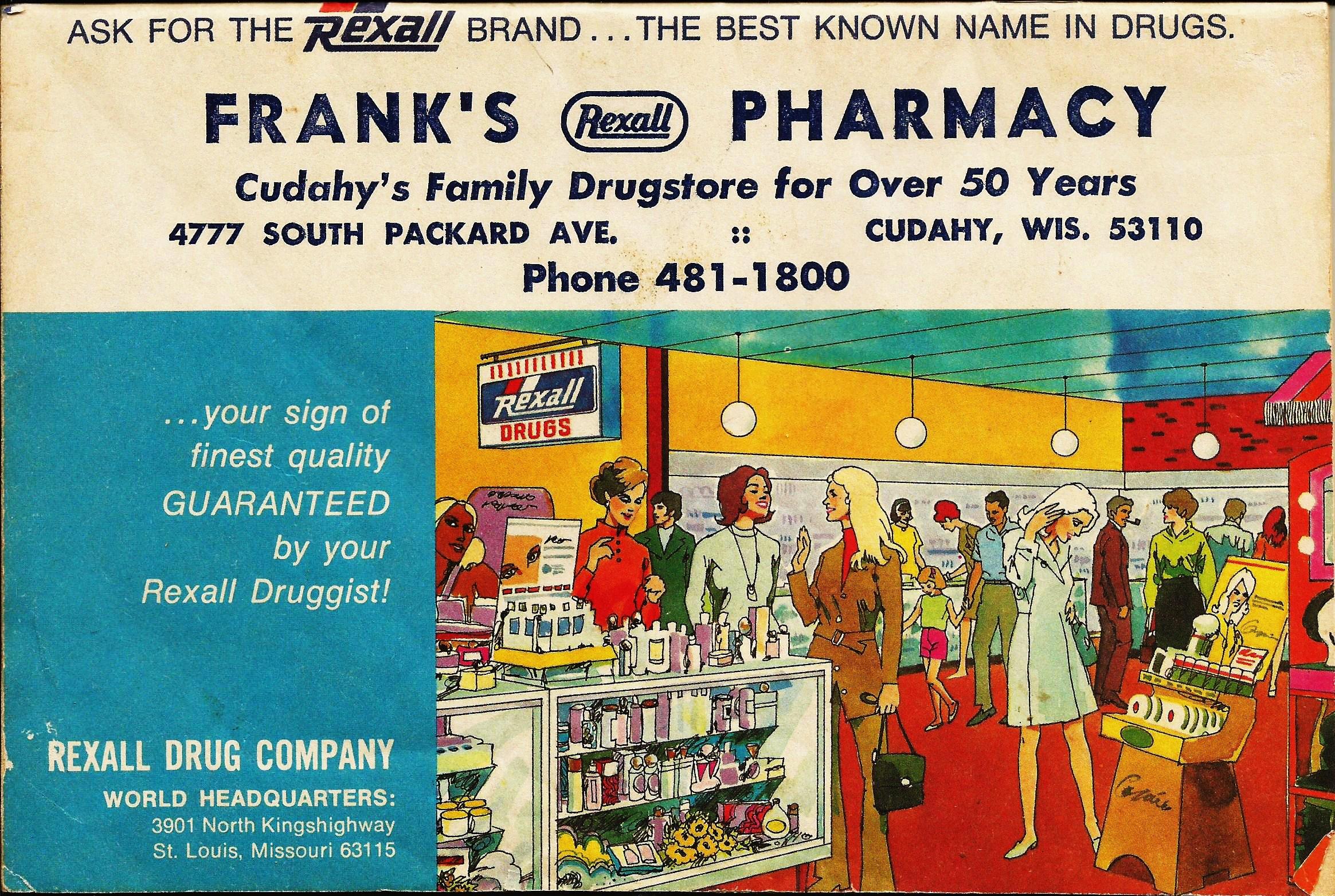 Frank's Rexall Pharmacy - 4777 South Packard Avenue, Cudahy, Wisconsin U.S.A. - 1973