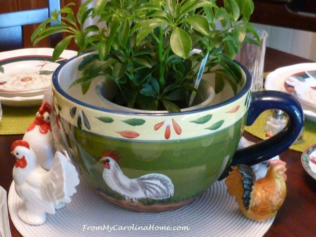 Spring Chicken Tablescape at From My Carolina Home