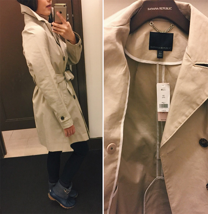 banana republic petite rain coat review