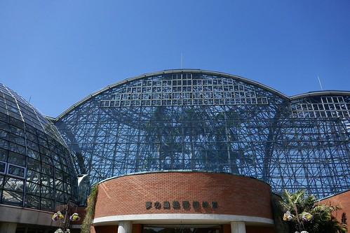 "Yumenoshima Tropical Greenhouse Dome_(2017_05_05)_1_resized_1 ""夢の島熱帯植物館"" のドームを正面から撮影した写真。 ドームの内側に背丈の長い熱帯植物が見えている。"