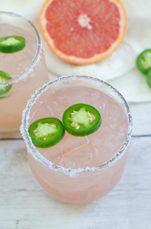 Spicy Salty Dog - freshly squeezed grapefruit juice, vodka, and jalapenos! So refreshing and delicious!