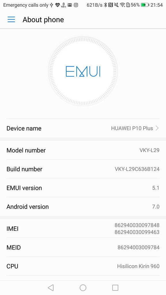 Huawei P10 Plus User Interface
