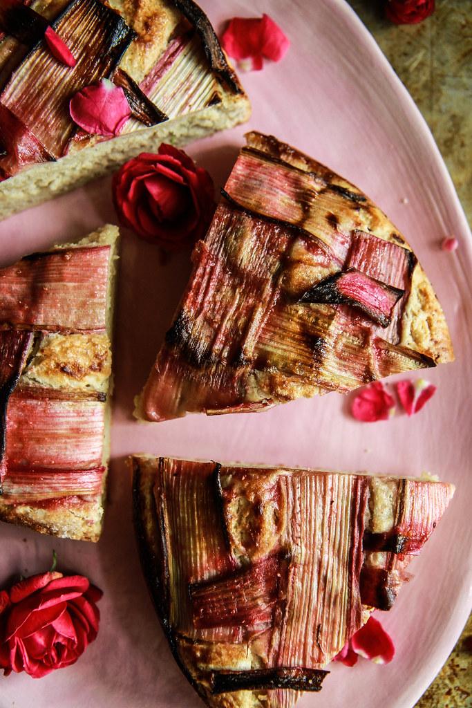 Ginger Vanilla Rhubarb Cake- Vegan and Glutenfree from HeatherChristo.com