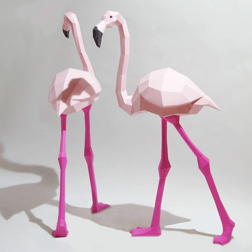 Low Poly Papercraft Flamingo Models by Paperwolf