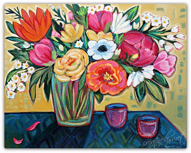 Colorful Flower Bouquet - Original art by Regina Lord