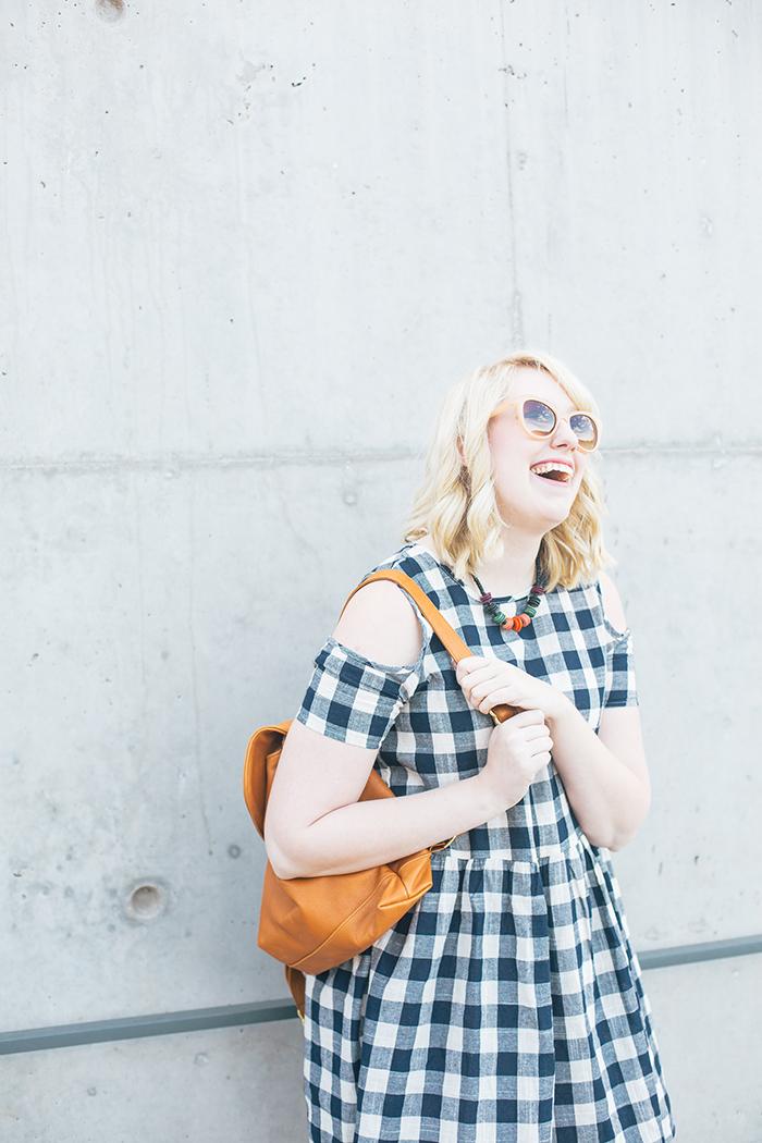 austin fashion blogger writes like a girl asos cold shoulder gingham dress7