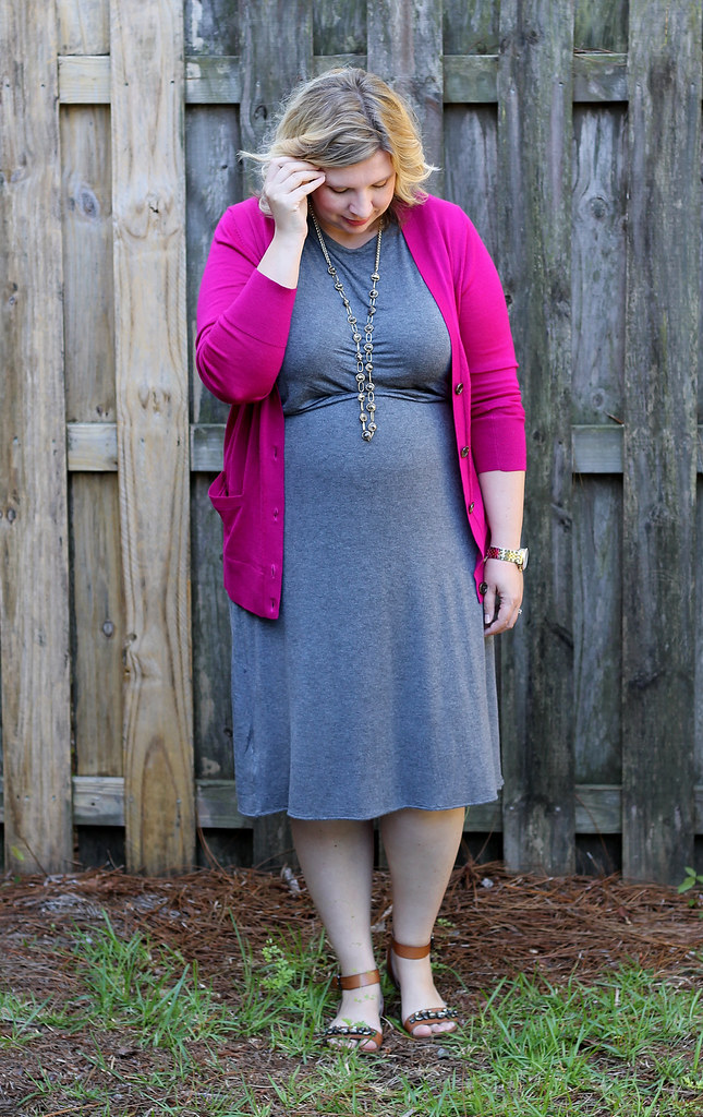 magenta cardigan, gray midi dress and sandals_4