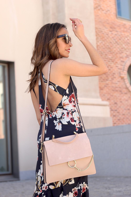 Floral dress denim jacket heels spring outfit style fashion08