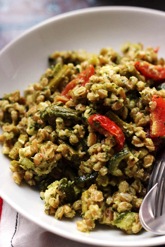 Roasted Spring Vegetable Farro Bowls with Thai Green Curry Pesto