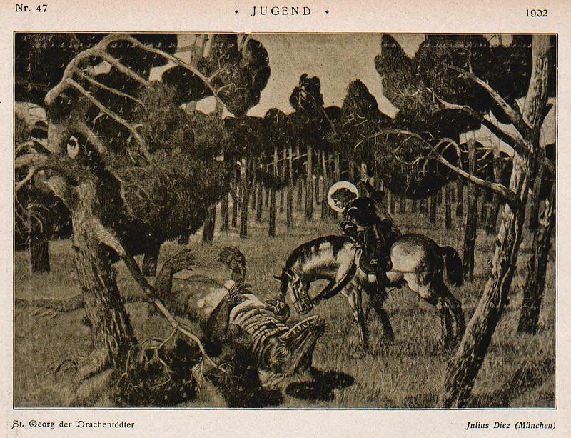 Julius Diez - Saint George and the Dragon, 1902