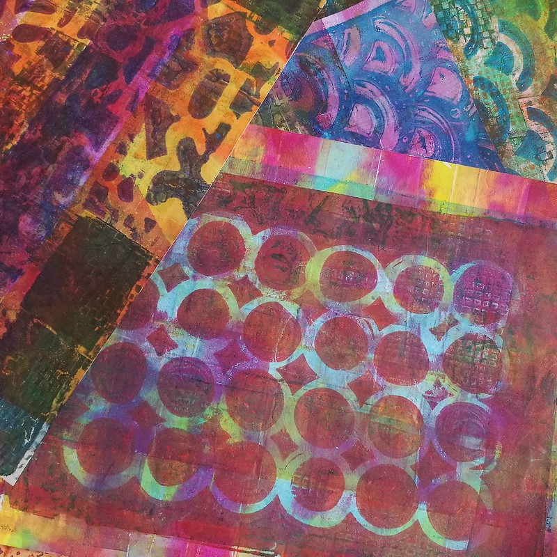 Gelli printinh session on tomoe river paper