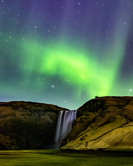 Skogarfoss and Northern Lights
