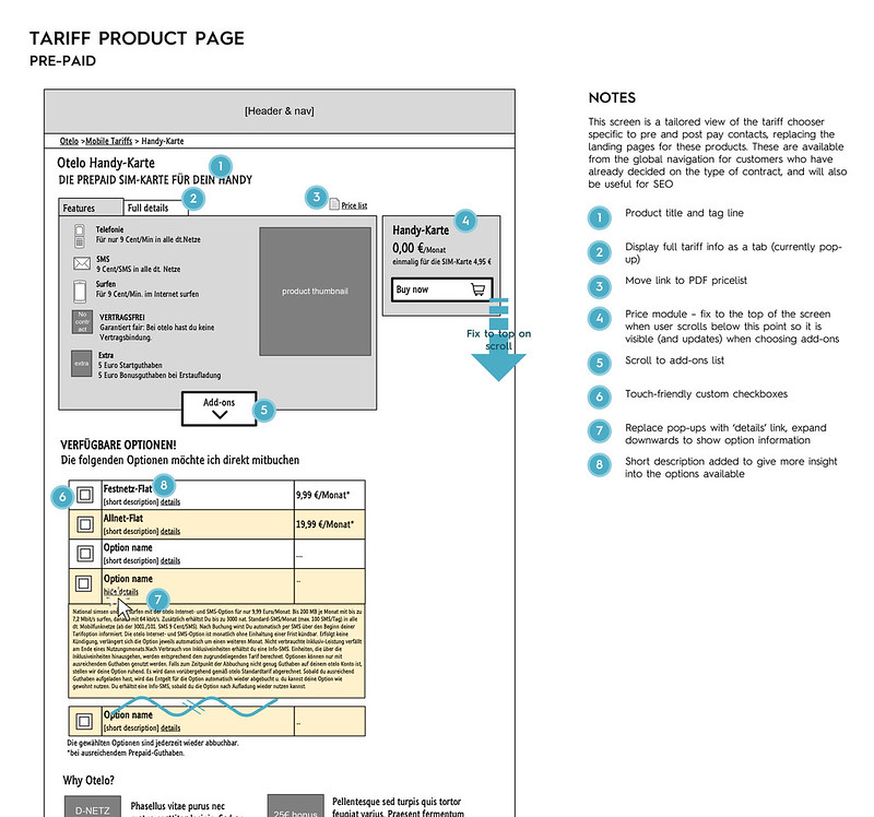 Tariff product page wireframe