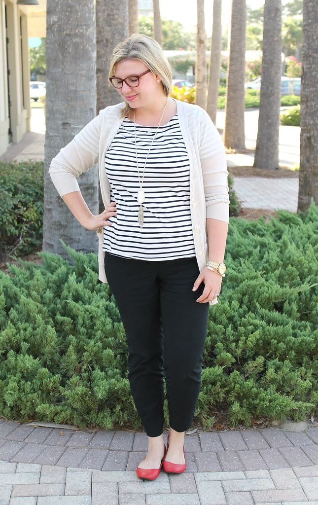 stripe tee, black pencil pants, red shoes 7