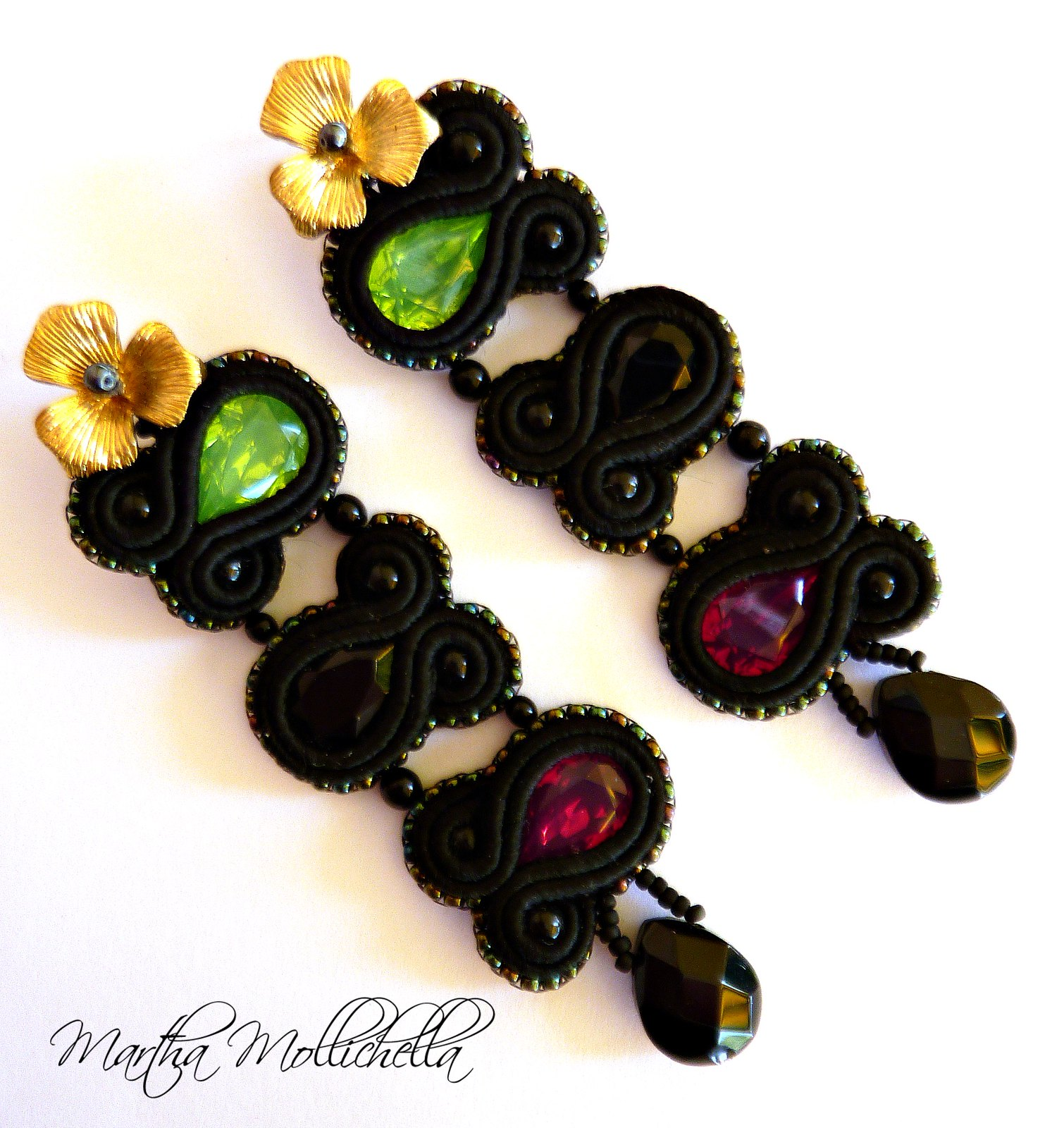 Soutache earrings handmade in Italy by Martha Mollichella