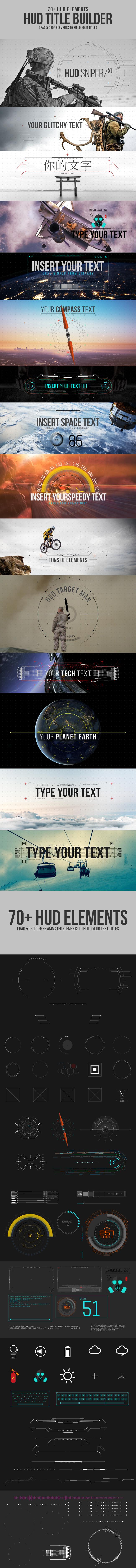 AE模板 70多个科技科幻HUD文字字幕标题动画元素 HUD Title