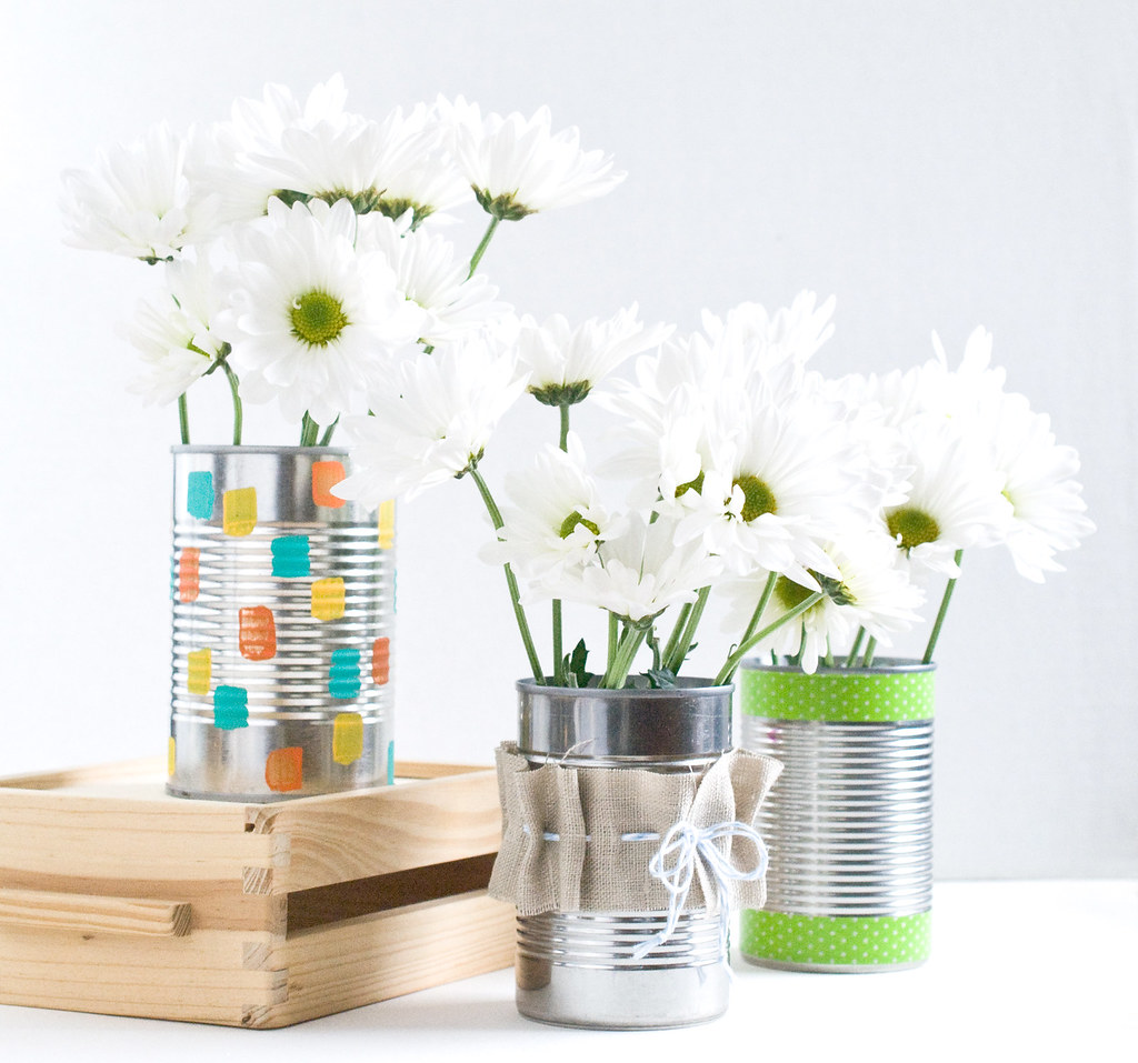Recycled Can Vases for Hello Bee