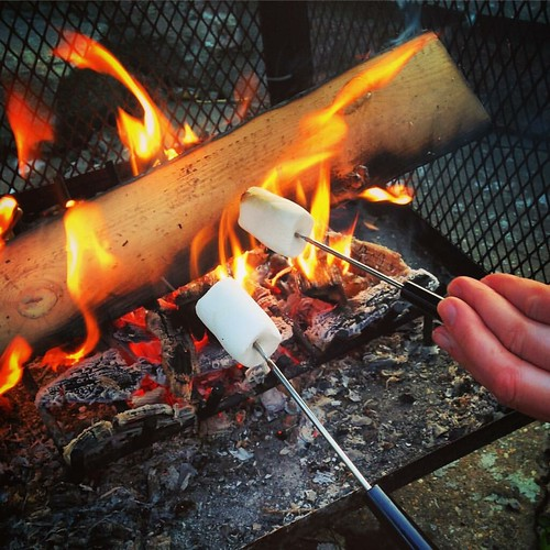 First time making s'mores! Om nom nom! 👌😩 . #smores #marshmallows #fire