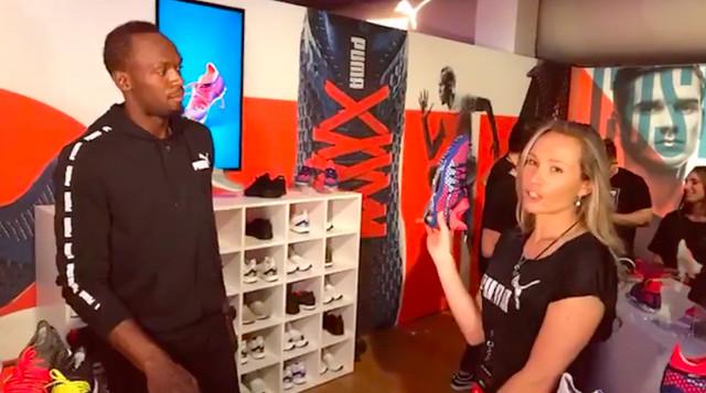 Usain Bolt mostrando Puma Netfit