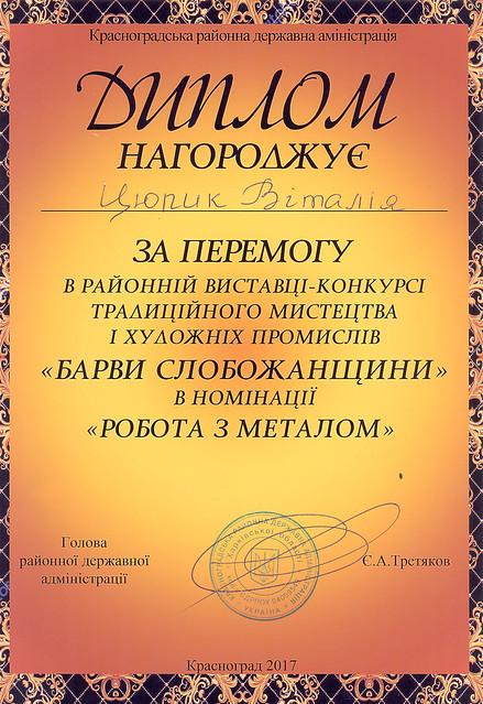 Диплом за перемогу у виставці-конкурсі «Барви Слобожанщини – 2017» в номінації «Робота з металом»