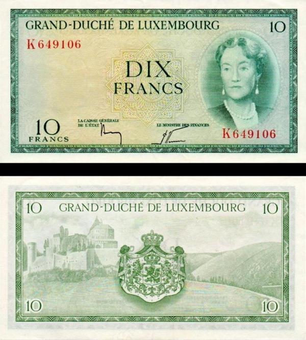 10 frankov Luxemburgsko 1954, P48a