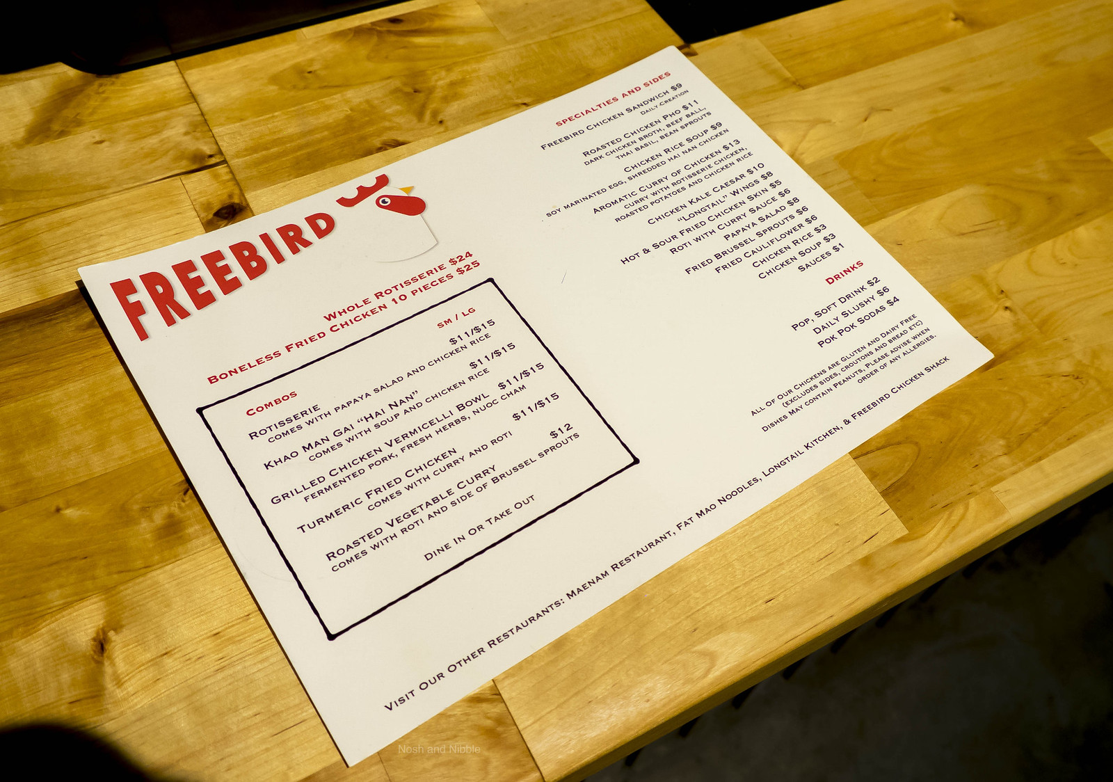 Freebird Chicken Shack Menu