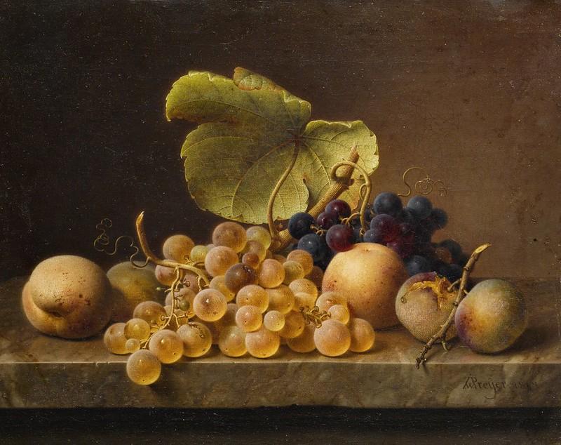 Johann Wilhelm Preyer - Still life with grapes