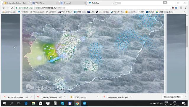 2017. április 29-e a Csillagászat Napja volt (ez mindig egy áprilisi első negyedhez közeli holdfázisra kerül, tehát mozgó dátum). Reggel 6:16 órakor készítette Csizmadia Szilárd ezt a képernyőmentést. Az Egyesületben úgy láttuk, nagy esély van arra, hogy a Zalaegerszeg feletti köd eloszoljon, és kiváló ég alatt észleljünk a VCSE-közgyűlést követő észlelőhétvégén. Várakozásunk teljesen valóra vált, igen jó egünk volt! A külön nem jelölt képek április 29-én, illetve ápr. 29/30-a éjjelén készültek