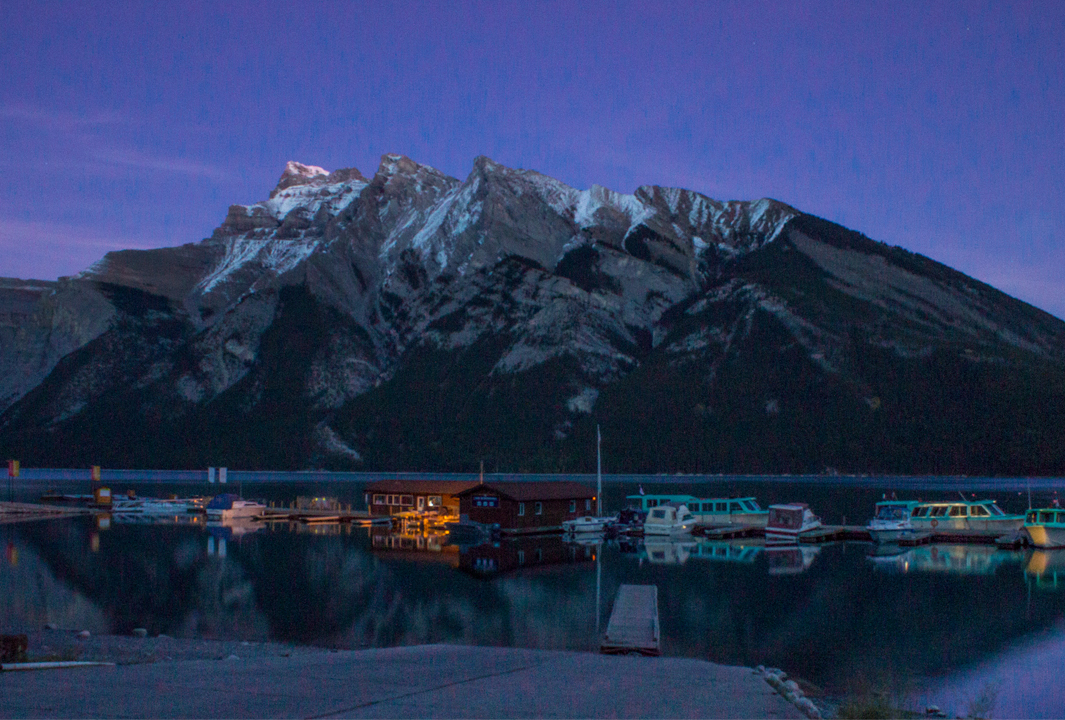 Lake Minnewanka at night time