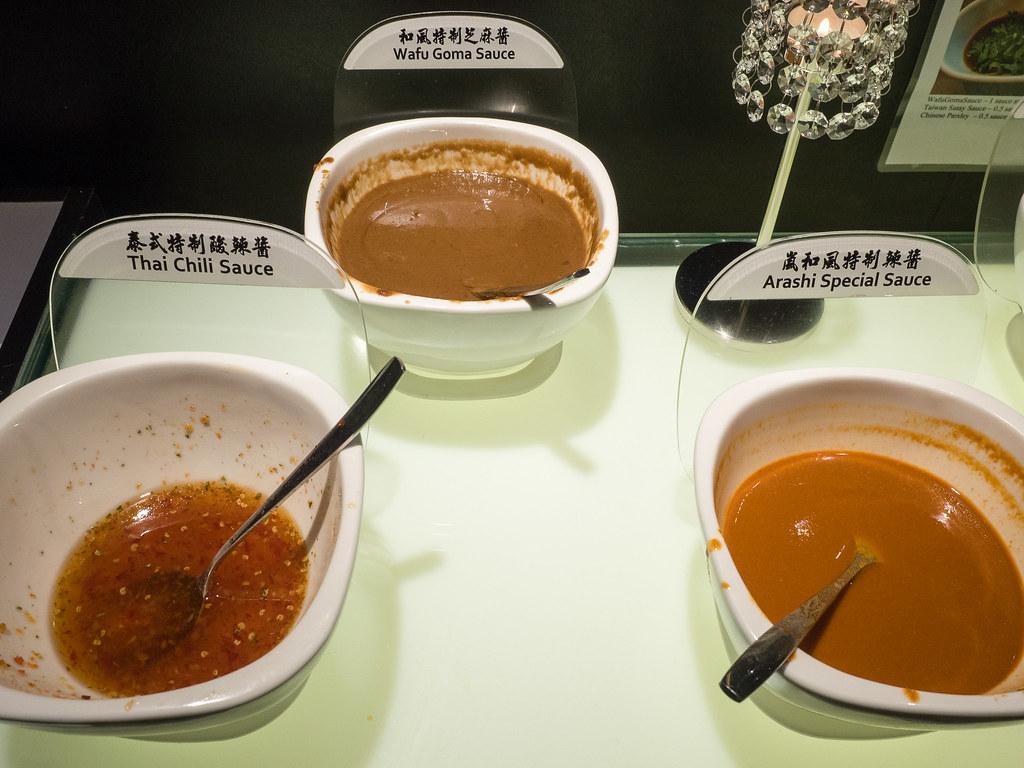 Thai Chili Sauce, Wafu Goma Sauce and Arashi Special Sauce.