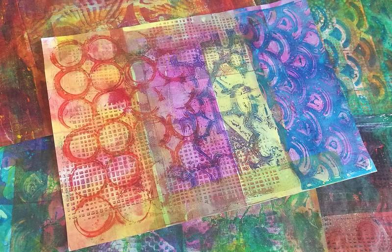 Gelli printinh session on tomoe river paper