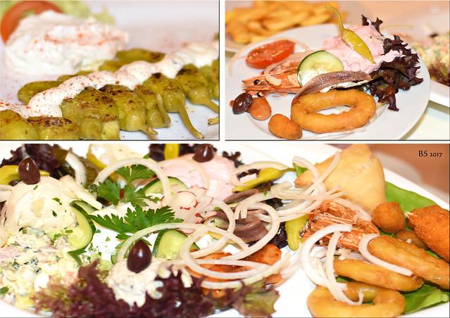 Griechisch essen in Mannheim-Seckenheim. Wie gewohnt bunt, phantasievoll, abwechslungsreich. Kalí órexi ... Fotos und Collagen: Brigitte Stolle