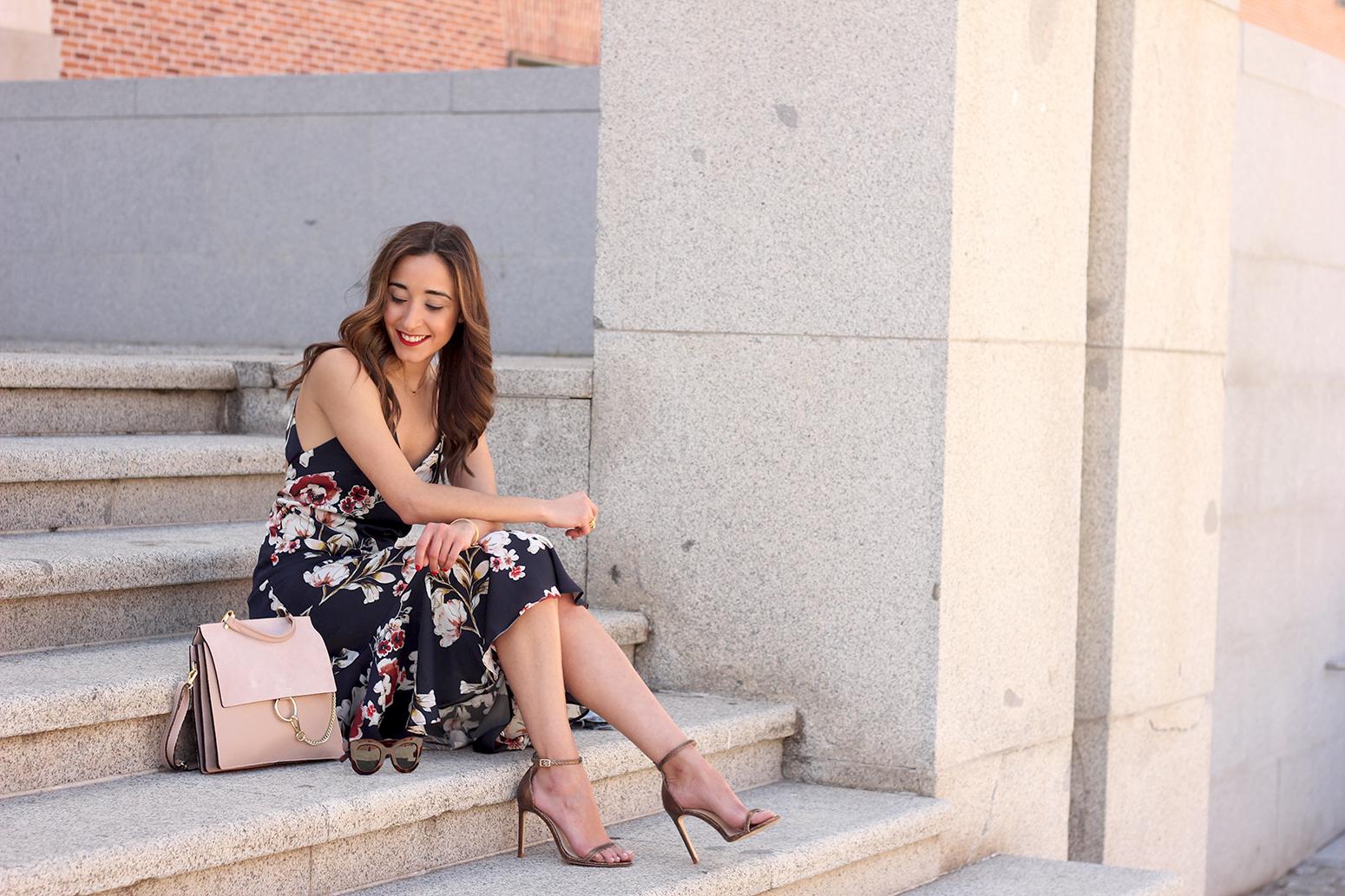 Floral dress denim jacket heels spring outfit style fashion15