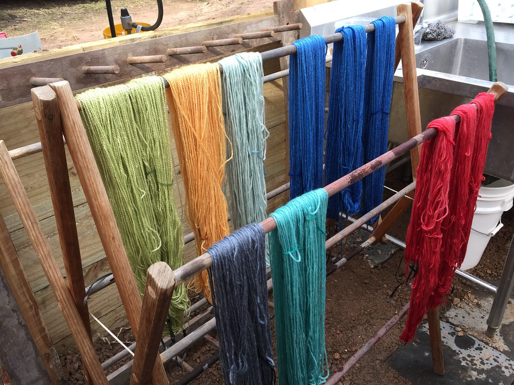 beautifully coloured skeins, drying on the clothes horse
