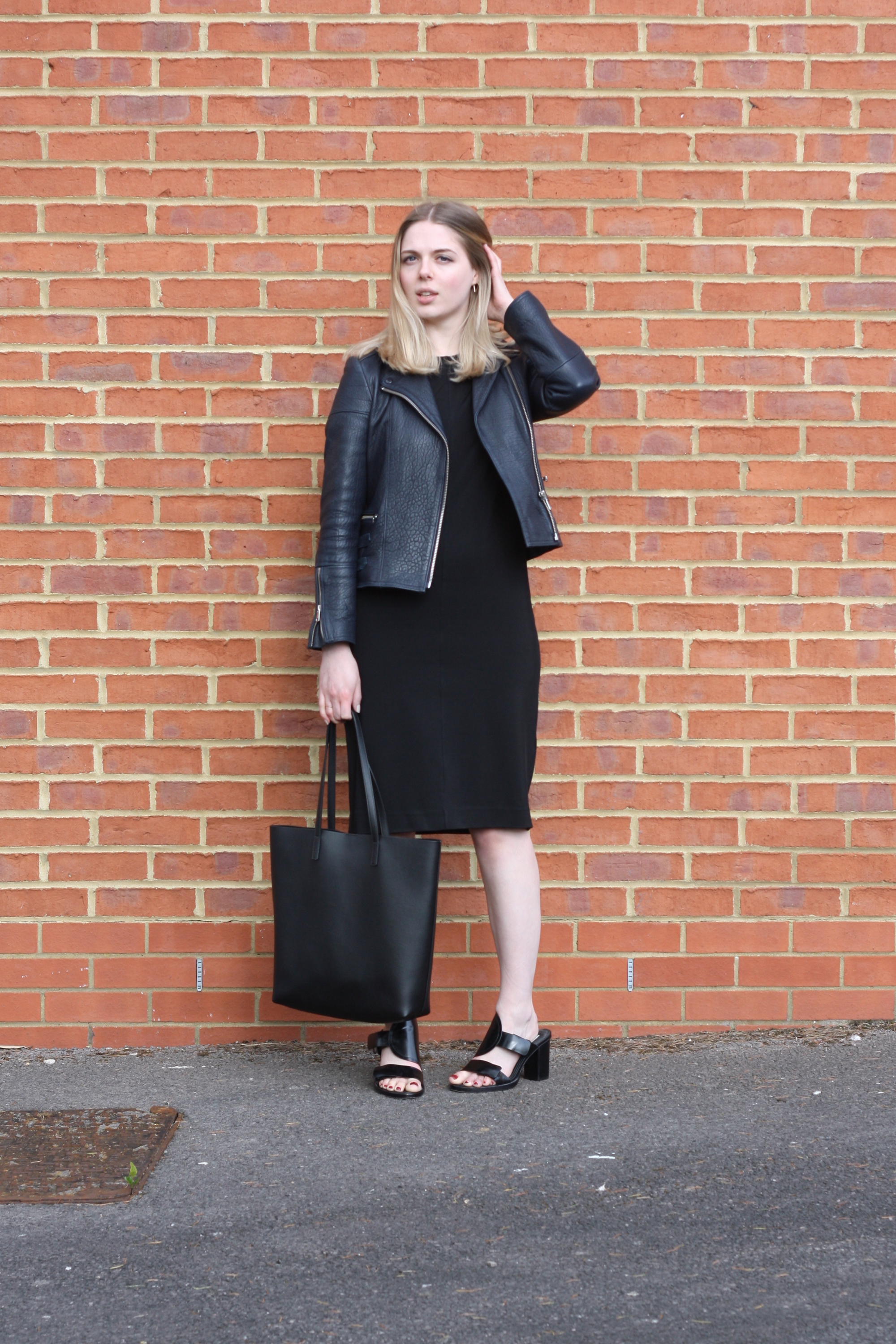 Whistles navy leather jacket, & Other Stories black mules and & Other Stories black midi dress