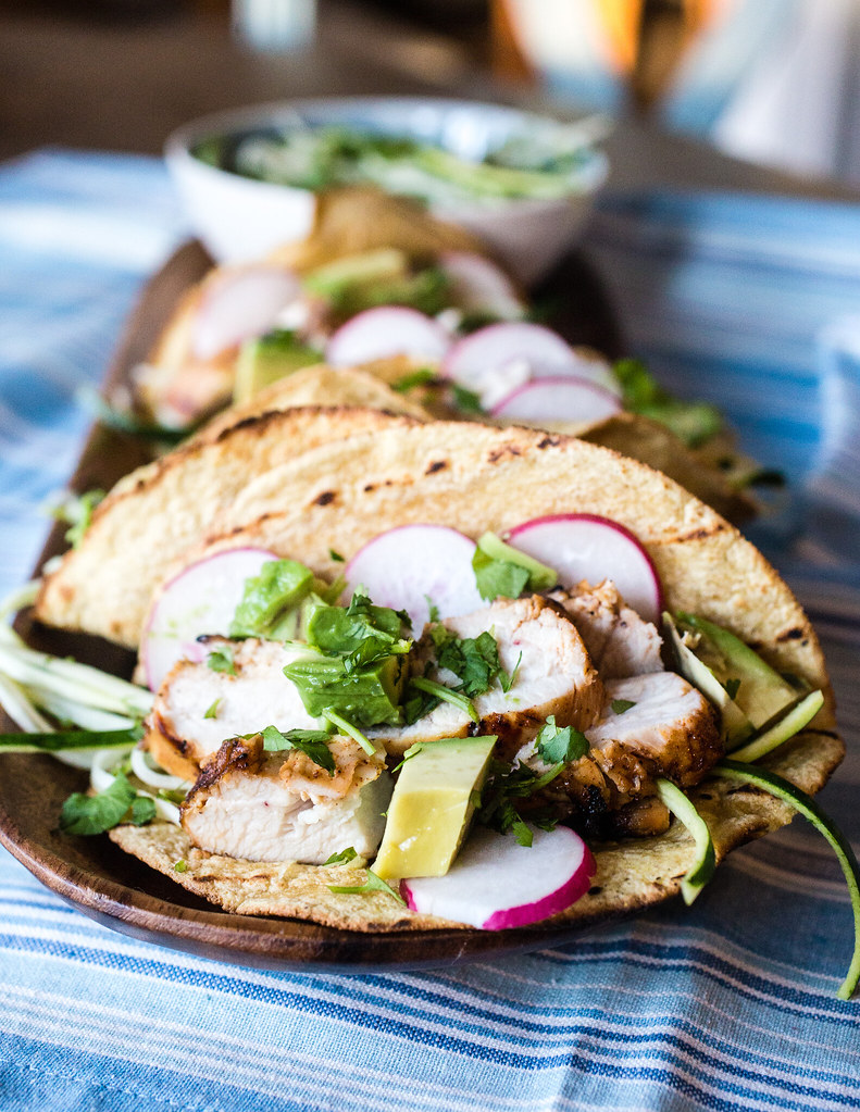 Tequila Lime Chicken Tacos with Zucchini Slaw - Smells Like Home